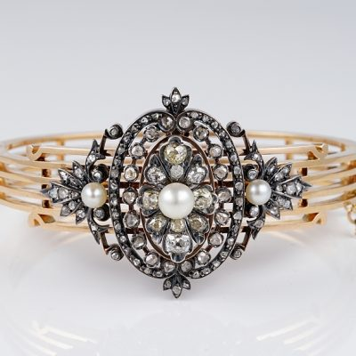 MAGNIFICENT VICTORIAN FRENCH 2.90 CT DIAMOND NATURAL PEARL BANGLE!