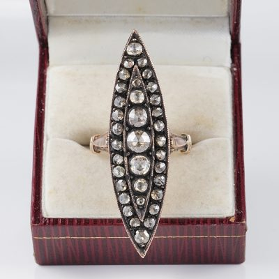 STUNNING 2.90 CT DUTCH DIAMOND GEORGIAN LONG NAVETTE SHAPED RING!