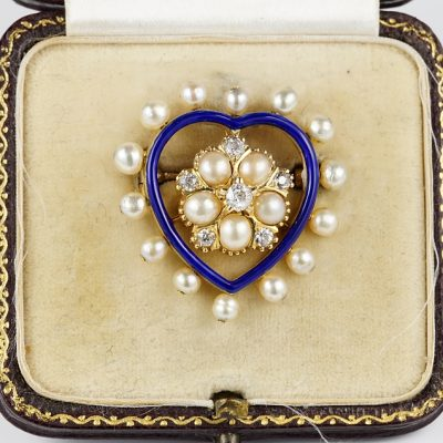 SWEET VICTORIAN DIAMOND PEARL ROYAL BLUE HEART PENDANT BROOCH
