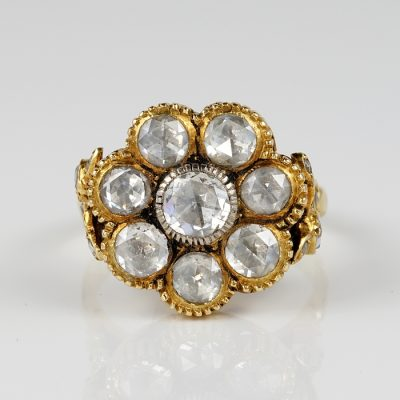 MAGNIFICENT 2.95 CT DUTCH CUT DIAMOND RARE GEORGIAN RING!
