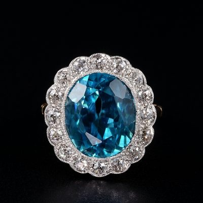 EDWARDIAN  TOP QUALITY  11.05 CT BLUE ZIRCON  1.30 CT DIAMOND RING!