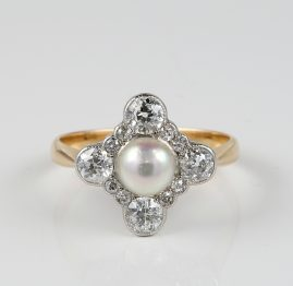 EDWARDIAN CERTIFIED NATURAL PEARL AND DIAMOND PLATINUM RING!