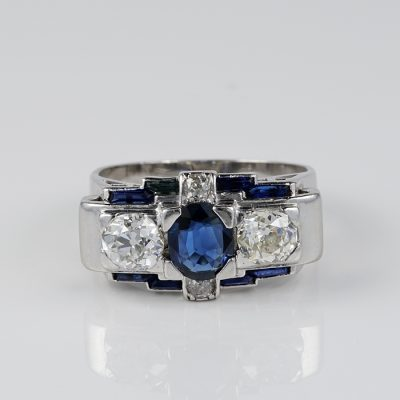 ART DECO .80 CT NO HEAT SAPPHIRE 1.65 CT DIAMOND PLATINUM TRILOGY RING!