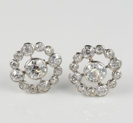 SPECTACULAR EDWARDIAN 3.50 CT DIAMOND PLATINUM CLUSTER EARRINGS!