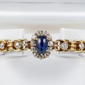 RARE RUSSIAN VICTORIAN 5.0 CT NATURAL SAPPHIRE 3.20 CT DIAMOND BRACELET!