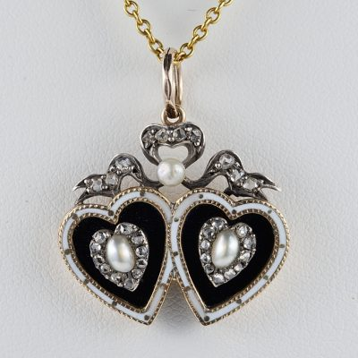 GEORGIAN BRISTOL GLASS DIAMOND NATURAL PEARL TWIN HEART PENDANT!