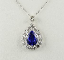 STUNNING 4.80 CT ROYAL TANZANITE 2.30 CT DIAMOND PLATINUM NECKLACE!