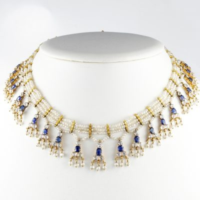 MAGNIFICENT EDWARDIAN BURMA SAPPHIRE SEED PEARL RARE NECKLACE!