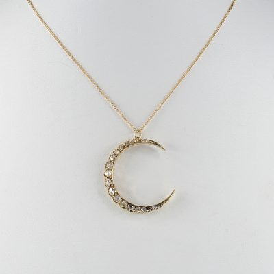 SPECTACULAR VICTORIAN 1.80 CT ROSE CUT DIAMOND CRESCENT MOON NECKLACE!