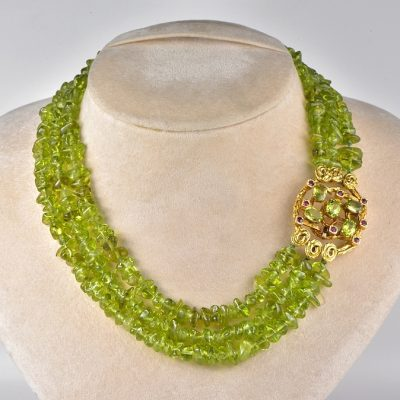 OUTSTANDING VINTAGE PERIDOT AND RUBY BROOCH NECKLACE!