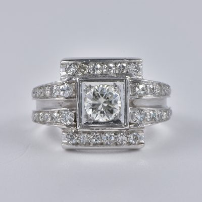 STUNNING ART DECO  1.66 CT G  VVS DIAMOND PLATINUM RING!