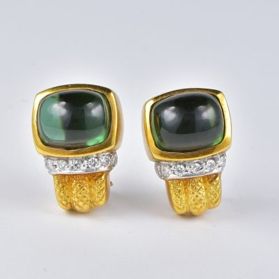 VERY CHIC 12.80 CT GREEN TOURMALINE DIAMOND FASHIONABLE EARRINGS!