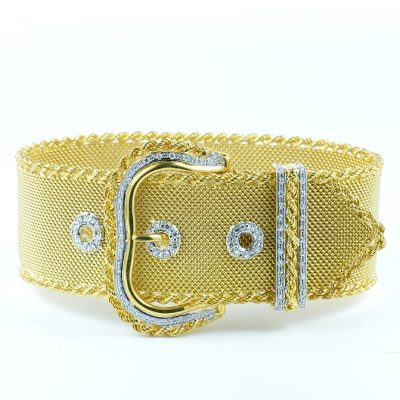 ANTIQUE MESH BUCKLE BRACELET WITH DIAMONDS!
