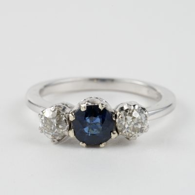 GORGEOUS ART DECO .80 CT  DIAMOND  .90 CT SAPPHIRE TRILOGY RING!