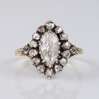GEORGIAN 1,80 CT ROSE CUT DIAMOND BEAUTIFUL NAVETTE RING!
