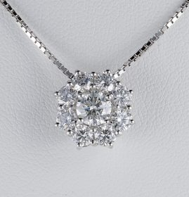 SPECTACULAR 2.30CT ROUND BRILLIANT CUT DIAMOND DAISY PENDANT!