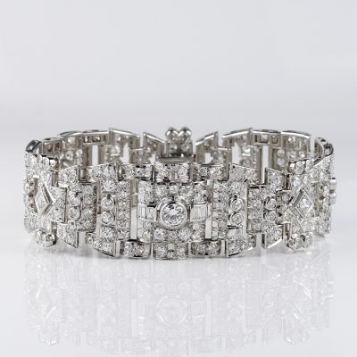 SPECTACULAR FRENCH ART DECO 12. 0 CT DIAMOND PLATINUM BRACELET!