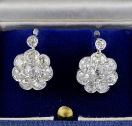 STUNNING ART DECO 4.80 CT OLD CUT DIAMOND RARE CLUSTER EARRINGS