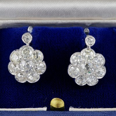 STUNNING ART DECO 4.80 CT OLD CUT DIAMOND RARE CLUSTER EARRINGS!