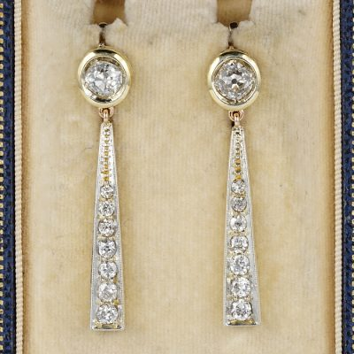 SPECTACULAR EDWARDIAN 3.50 CT DIAMOND RARE DROP EARRINGS!