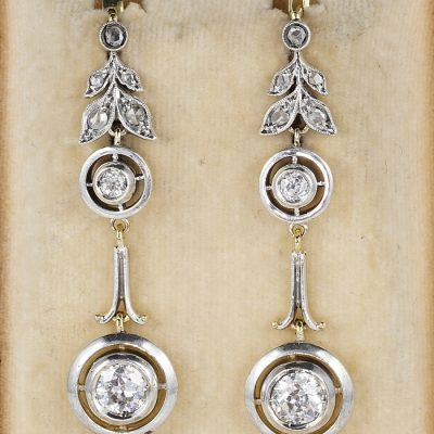 BELLE EPOQUE 2.10 CT DIAMOND SILVER 18KT GOLD RARE DROP EARRINGS!