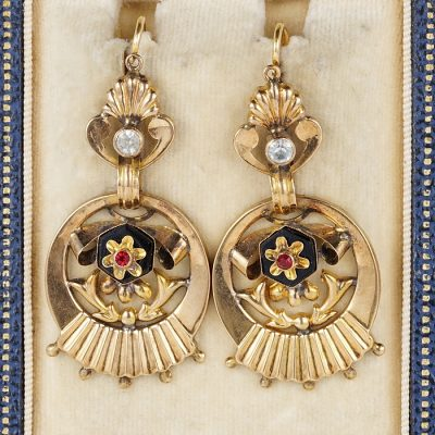 VICTORIAN 18 KT ROSE GOLD PASTE STONE RARE EARRINGS!