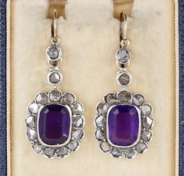 AUTHENTIC VICTORIAN AMETHYST ROSE CUT DIAMOND RARE DROP EARRINGS