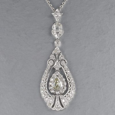 STUNNING EDWARDIAN  G VVS 2.10 CT  DIAMOND PENDANT NECKLACE!
