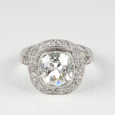 EDWARDIAN 4.20 CT. PLUS DIAMOND SOLITAIRE PLATINUM RING