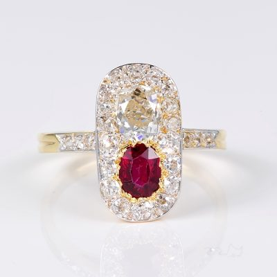 EDWARDIAN BURMA NO HEAT 2.10 CT DIAMOND RARE TWIN RING!