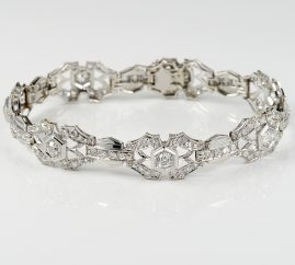 MAGNIFICENT ART DECO 5.10 CT DIAMOND PLATINUM BRACELET 1920 ca!