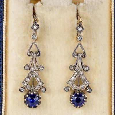 SPECTACULAR  EDWARDIAN DIAMOND SAPPHIRE PASTE EARRINGS!