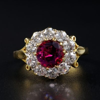 SPECTACULAR VICTORIAN NATURAL NO HEAT RUBY DIAMOND RING!