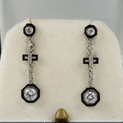 ART DECO .88 CT DIAMOND AND BLACK EXQUISITE PLATINUM EARRINGS!