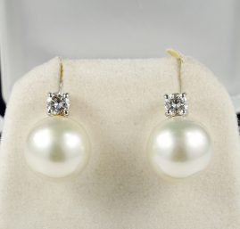 EXCEPTIONAL QUALITY SOUTH SEA PEARL DIAMOND PLATINUM EARRINGS!