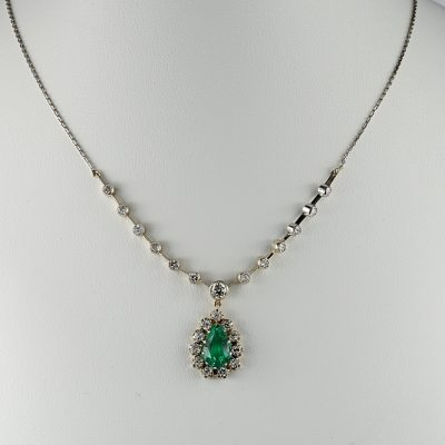 EDWARDIAN 1.50 CT COLOMBIAN EMERALD 1.60 CT DIAMOND NECKLACE!