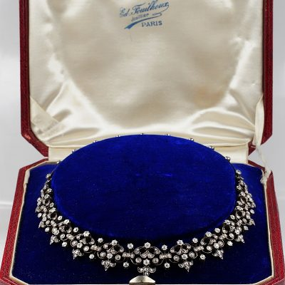 RARE FRENCH 184O CA EARLY VICTORIAN 12.20 CT DIAMOND NECKLACE!
