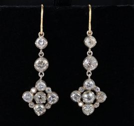 MAGNIFICENT VICTORIAN 4.60 CT DIAMOND DROP EARRINGS