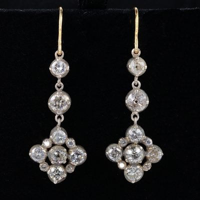 MAGNIFICENT VICTORIAN 4.60 CT DIAMOND DROP EARRINGS!