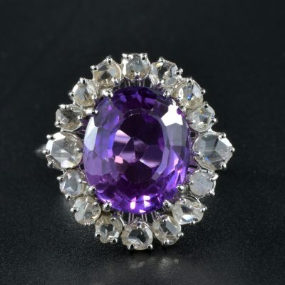 11.45 Ct NATURAL NO HEAT PURPLE 2.60 Ct DIAMOND RARE ANTIQUE RING