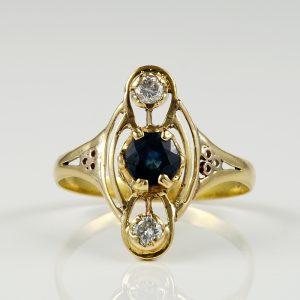 ART NOUVEAU BLUE SAPPHIRE DIAMOND RARE RING!