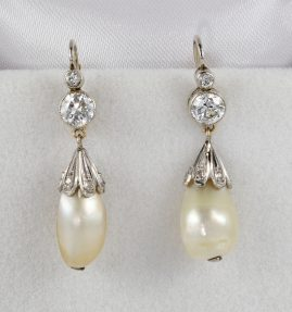 ANTIQUE BELLE EPOQUE NATURAL PEARL DIAMOND PLATINUM EARRINGS!