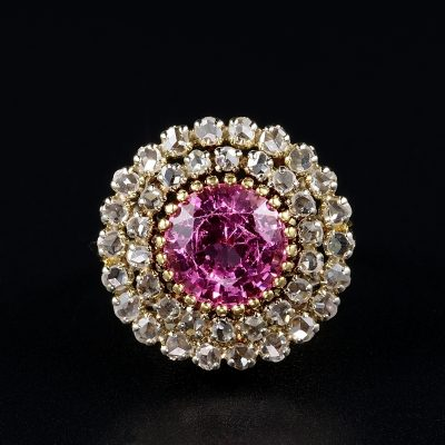 ART DECO 4.25 Ct NATURAL NO HEAT PINK SPINEL 1.50 CT DIAMOND RARE RING EARLY 20'S