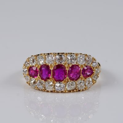 SPECTACULAR VICTORIAN NATURAL BURMESE RUBY 1.70 CT. CT DIAMOND RING!