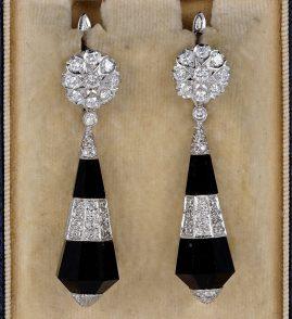 SPECTACULAR ART DECO BLACK ONYX 2.0 CT DIAMOND RARE EARRINGS!