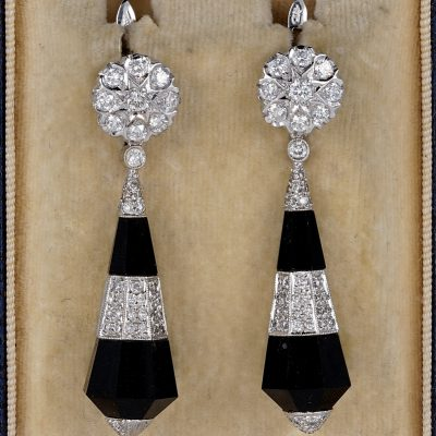 SPECTACULAR ART DECO BLACK ONYX 2.0 CT DIAMOND RARE EARRINGS!