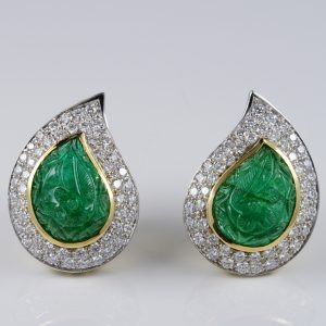SPECTACULAR 22.0 CT MUGHAL EMERALD 3.0 CARAT DIAMOND RARE EARRINGS