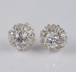 EDWARDIAN 1.26 CT PLUS OLD CUT DIAMOND RARE STUD EARRINGS