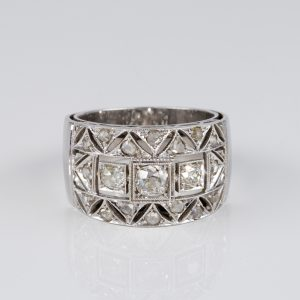 MAGNIFICENT ART DECO .85 CT  DIAMOND RARE WIDE BAND RING!