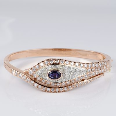 SPECTACULAR 5.10 CT DIAMOND 1.10 CT NATURAL SAPPHIRE RETRO BANGLE!